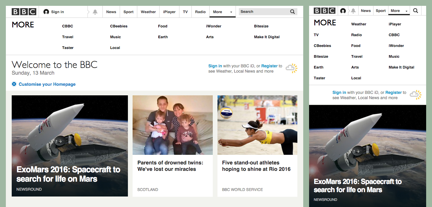 BBC progressively collapsing navigation