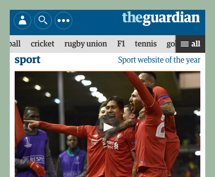 The Guardian scrollable navigation